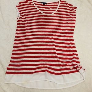 TOMMY HILFIGER red and white short sleeved top